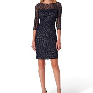 Tahari Dot Flocked Metallic Mesh Illusion Sheath
